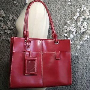 Wilson's Leather Red Executive Laptop Handbag
